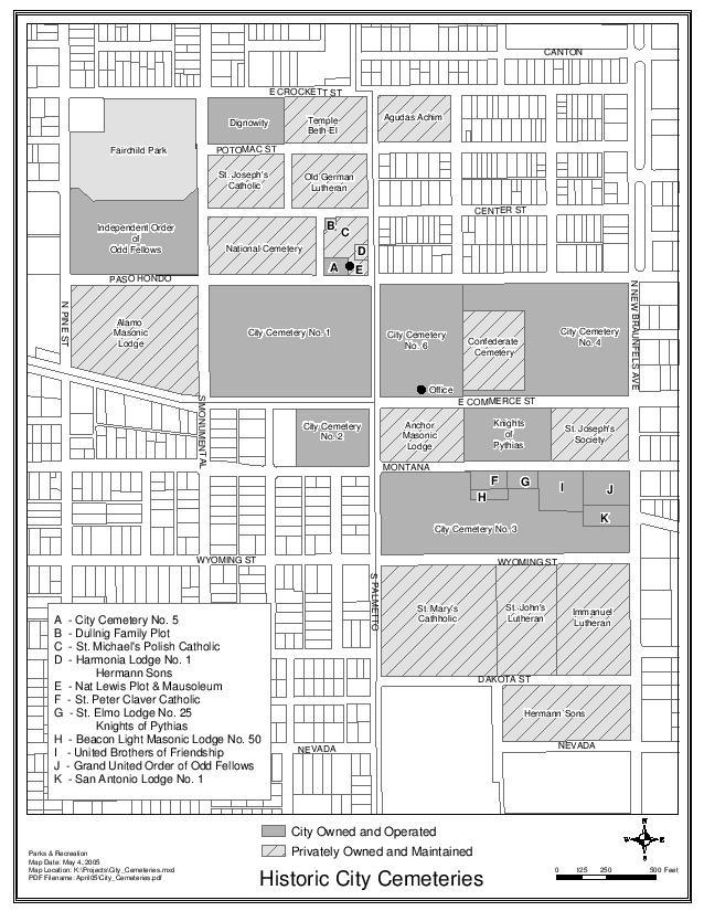 Map of St. John's Lutheran Church Cemetery District in San Antonio, Texas